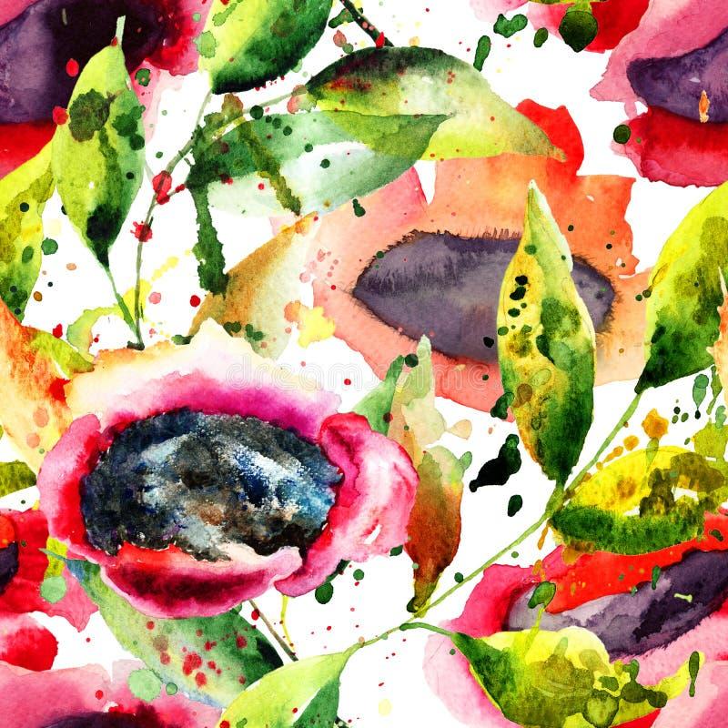 абстрактная картина цветков безшовная иллюстрация вектора