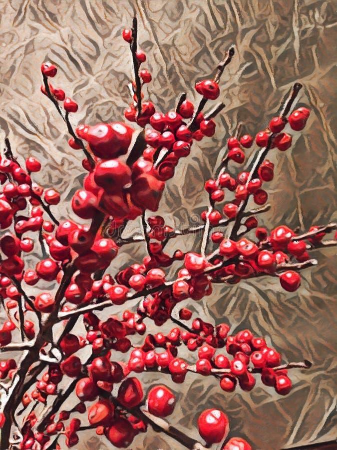 Абстрактная картина ягод Oranamental красных - фоновое изображение бесплатная иллюстрация