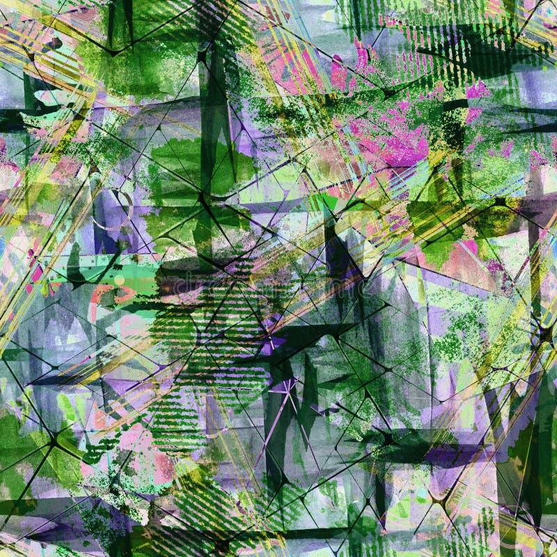 абстрактная картина grunge безшовная Зеленый цвет, предпосылка сирени бесплатная иллюстрация