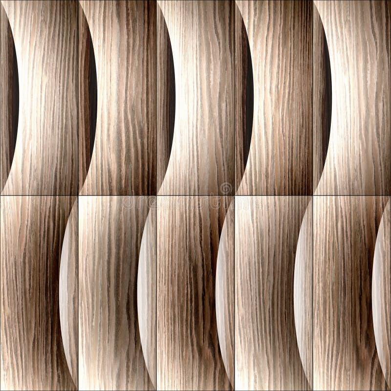 Абстрактная картина paneling - украшение волн, взорванный паз дуба бесплатная иллюстрация