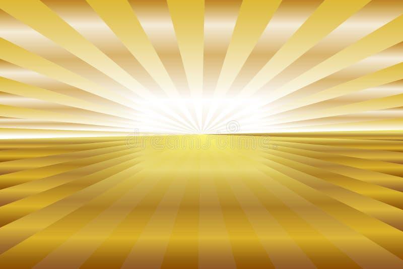 Абстрактная картина sunburst, золотой свет, лучи градиента коричневые и желтые покрашенные Иллюстрация вектора, EPS10 геометричес иллюстрация штока