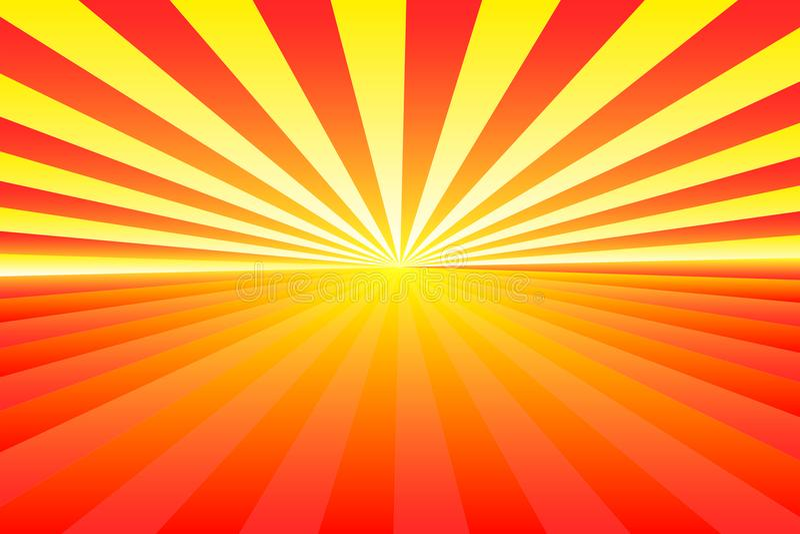 Абстрактная картина sunburst, цвета градиента красные и желтые луча Иллюстрация вектора, EPS10 геометрическая картина иллюстрация вектора