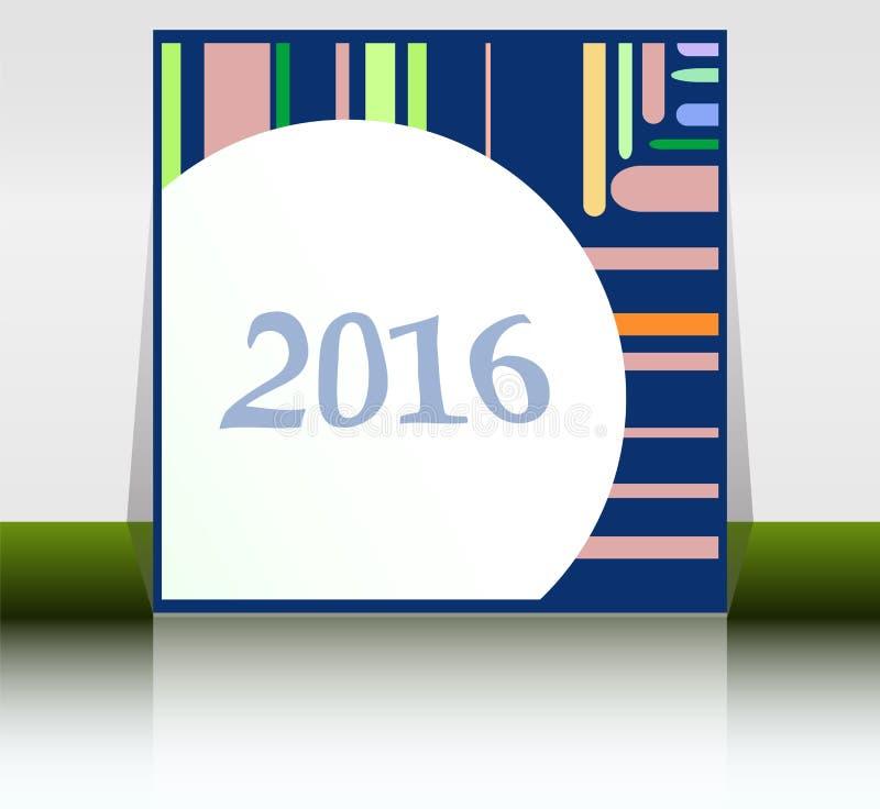 Абстрактная карточка Нового Года 2016 Multicolor поздравительная открытка праздника Творческий плоский дизайн, концепция для знам иллюстрация штока