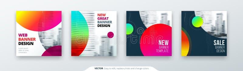 Абстрактная квадратная концепция предпосылки с кругом для дизайна рогульки брошюры знамени карточки в голубых цветах иллюстрация штока