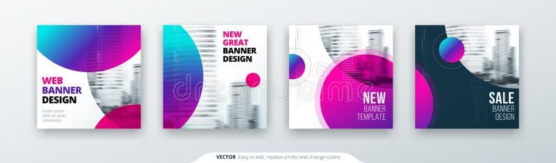 Абстрактная квадратная концепция предпосылки с кругом для дизайна рогульки брошюры знамени карточки в голубых цветах иллюстрация вектора