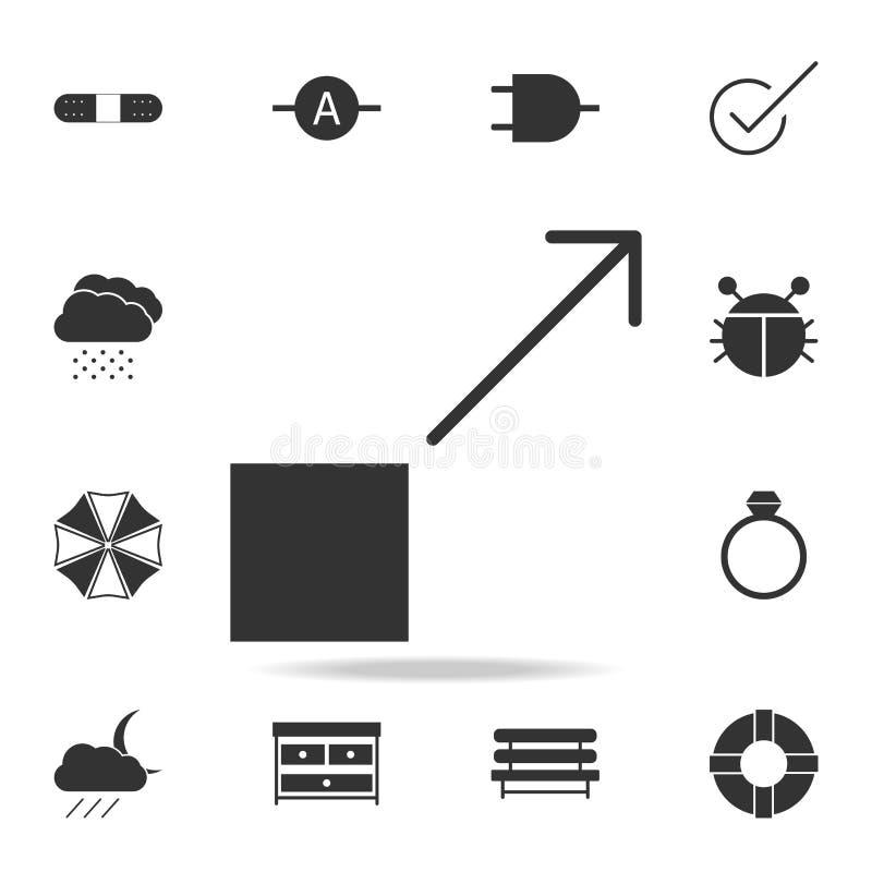 Абстрактная квадратная стрелка вверх по значку логотипа Детальный комплект значков сети Наградной качественный графический дизайн бесплатная иллюстрация