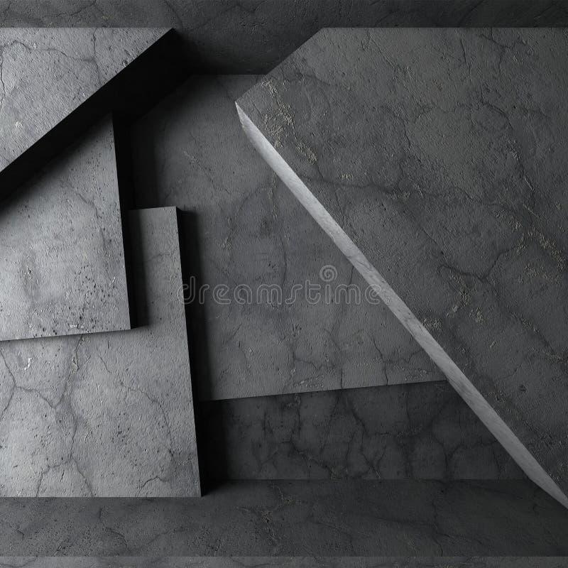 Абстрактная конкретная архитектура Темный пустой интерьер комнаты иллюстрация штока