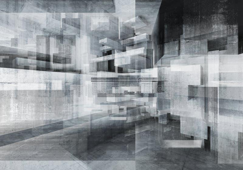 Абстрактная конкретная предпосылка с хаотическими кубами бесплатная иллюстрация