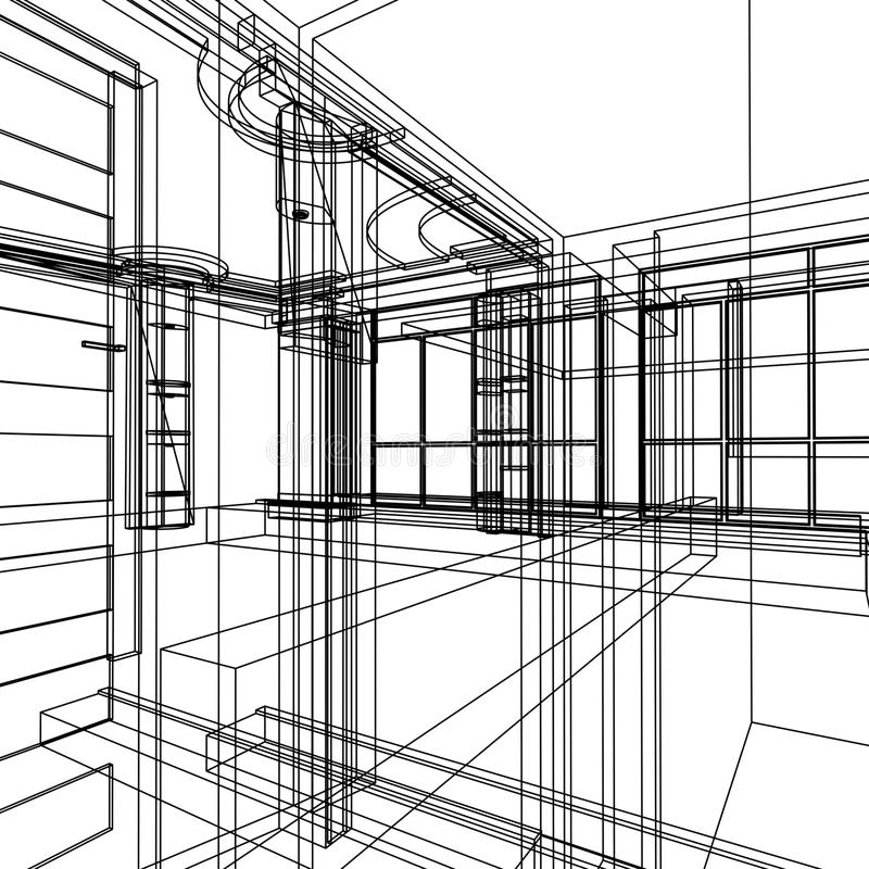 абстрактная конструкция зодчества иллюстрация вектора