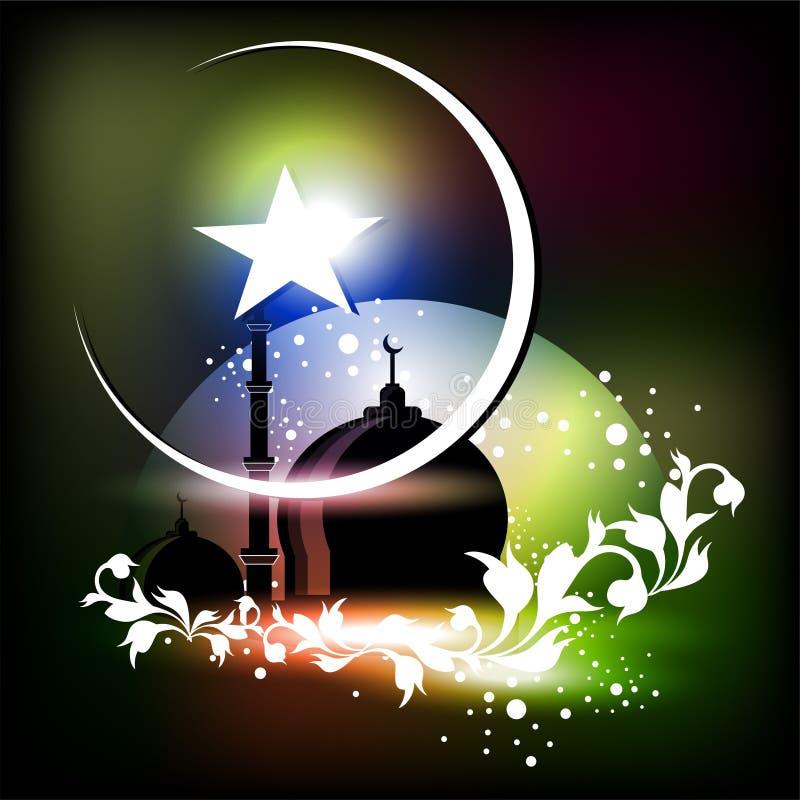Исламская поздравительная открытка для Eid Mubarak иллюстрация вектора
