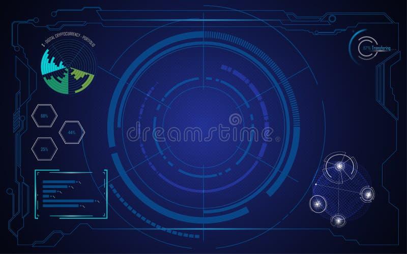 Абстрактная концепция нововведения технологии cryptocurrency экрана hud ai иллюстрация вектора