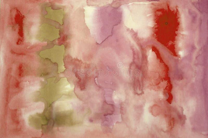 Абстрактная краска акварели красного и черного цвета Нерезкость на бумаге стоковое изображение rf