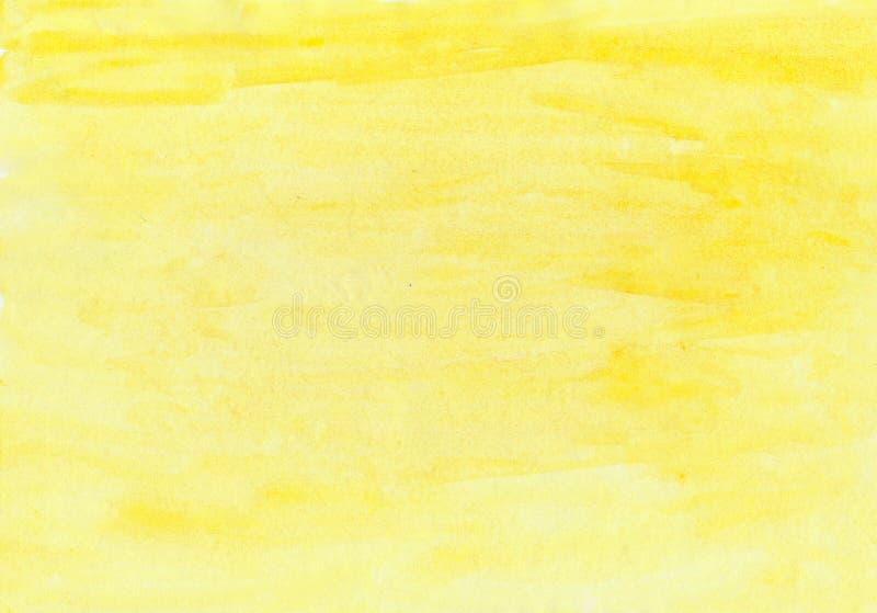 Абстрактная краска руки выплеска акварели aquarel желтого цвета предпосылки щетки текстуры чернил на белой предпосылке стоковые изображения rf