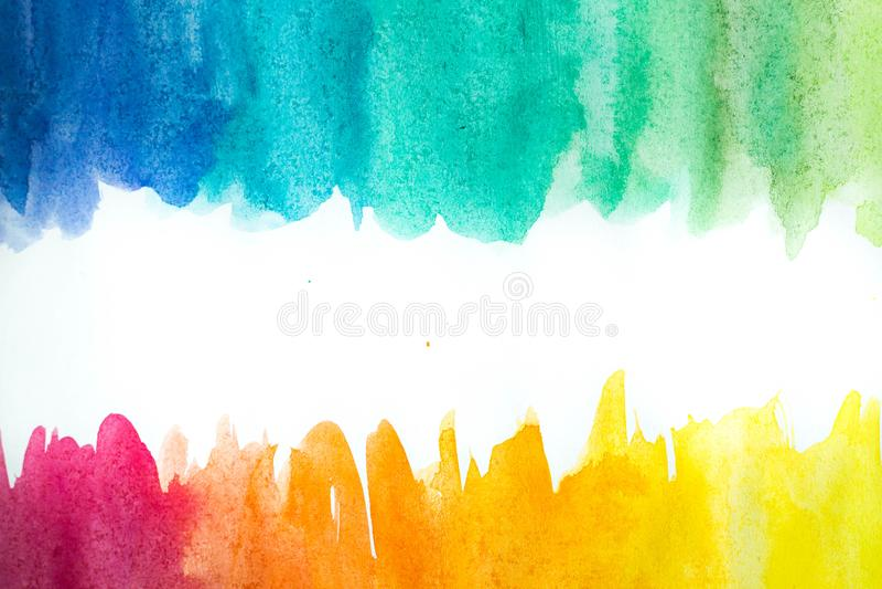 Абстрактная краска руки искусства акварели на белой предпосылке желтый цвет акварели стародедовской предпосылки темный бумажный иллюстрация штока