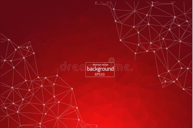 Абстрактная красная геометрическая полигональная молекула и связь предпосылки Соединенные линии с точками Концепция науки, химик иллюстрация штока