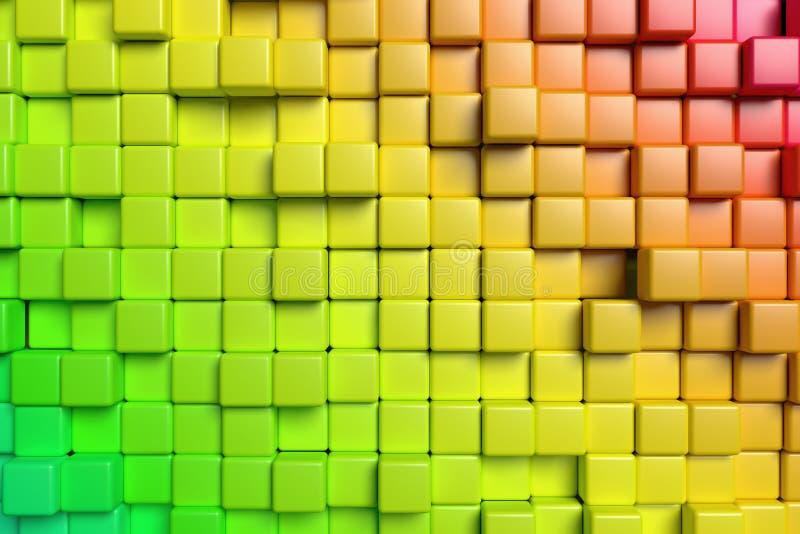 Абстрактная красная и зеленая предпосылка кубов 3d иллюстрация штока