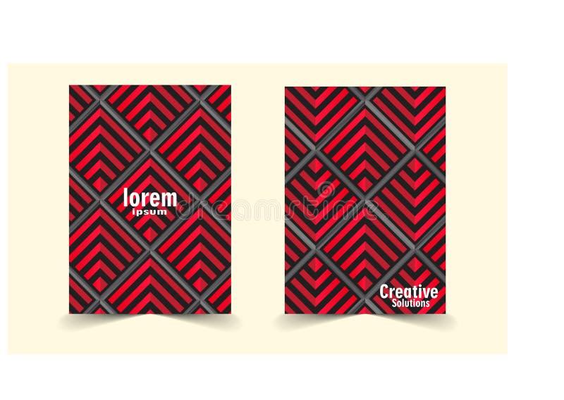 Абстрактная красная и черная квадратная предпосылка иллюстрация вектора