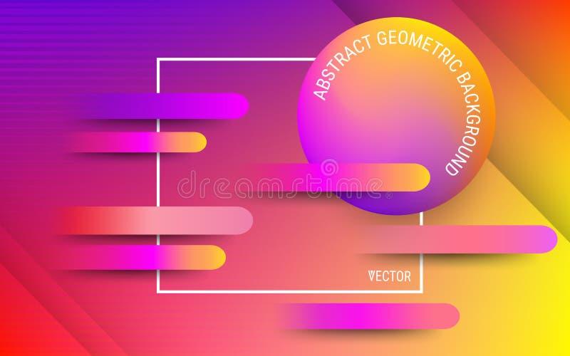 Абстрактная красная, оранжевая и ультрафиолетов предпосылка вектор Живые градиенты и динамические геометрические формы иллюстрация вектора