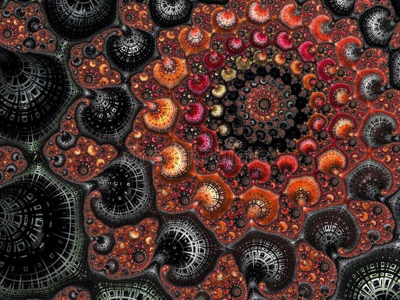 Абстрактная красная, оранжевая и черная текстурированная спиральная картина фрактали, 3d представляет для плаката, дизайна и разв бесплатная иллюстрация
