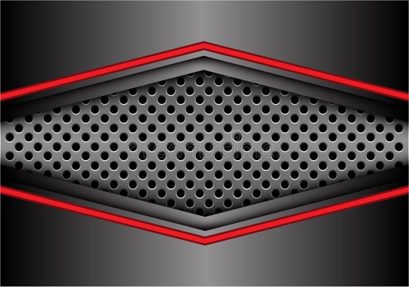 Абстрактная красная серая стрелка металла на векторе предпосылки дизайна знамени сетки круга современном футуристическом иллюстрация штока