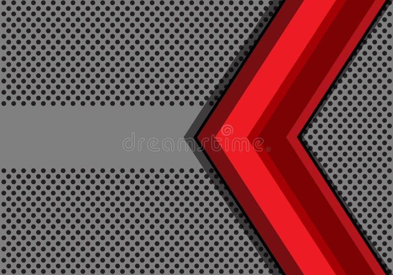 Абстрактная красная стрелка на серой сетке круга и знамя конструируют современный вектор предпосылки бесплатная иллюстрация