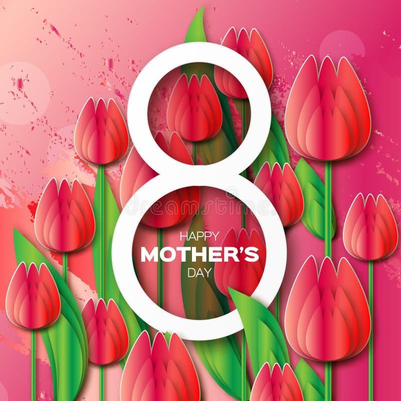 Абстрактная красная флористическая поздравительная открытка - счастливый день матерей - 8-ое мая - с пуком тюльпанов весны иллюстрация вектора
