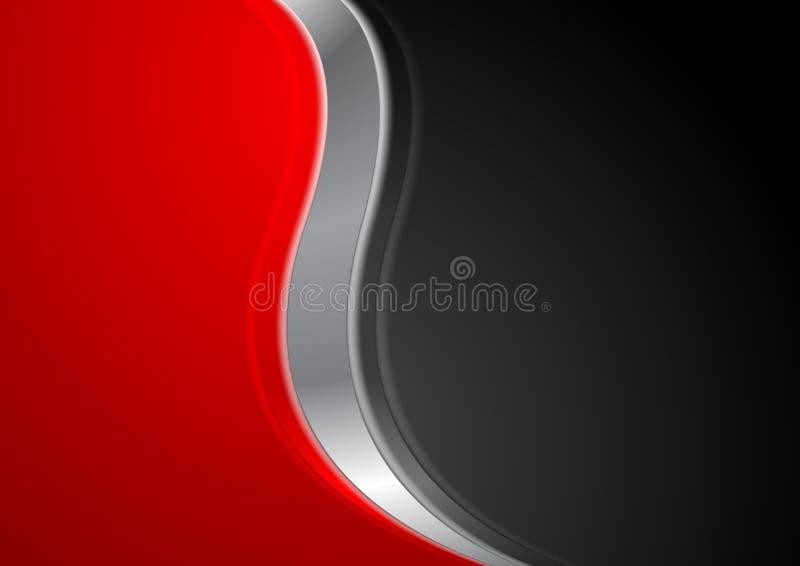 Абстрактная красная черная предпосылка с металлической волной иллюстрация штока