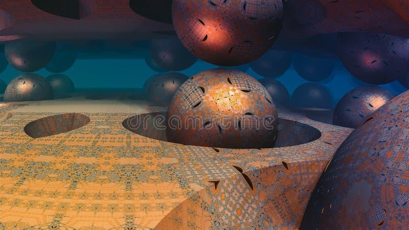 Абстрактная красочная иллюстрация фрактали сферы 3D с голубой предпосылкой бесплатная иллюстрация