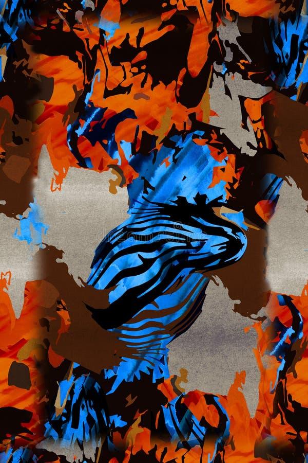 Абстрактная красочная картина печати блока бесплатная иллюстрация