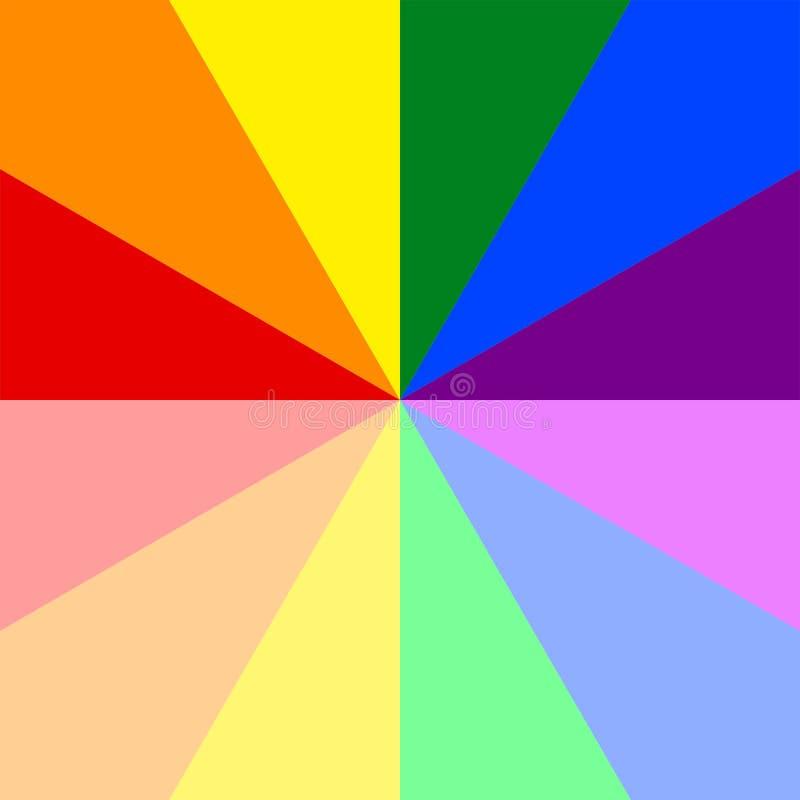 Абстрактная красочная картина sunburst в радуге красит цвета LGBT или LGBTQ Иллюстрация вектора, EPS10 геометрическая картина иллюстрация штока
