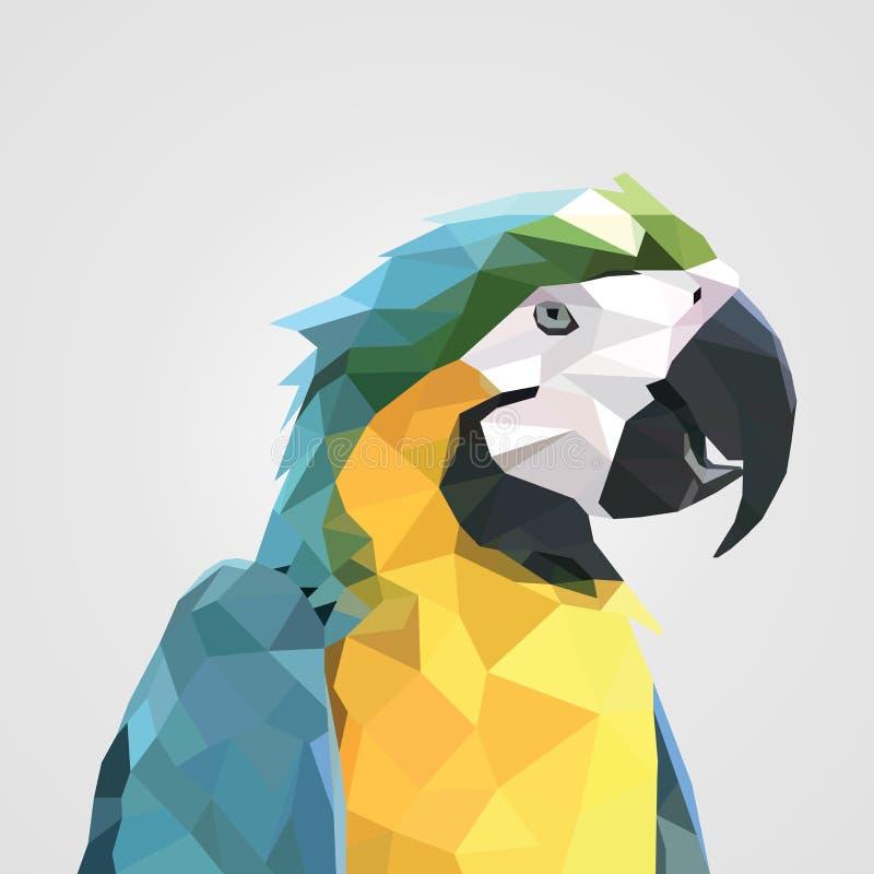 Абстрактная красочная низкая голова попугая ары полигона также вектор иллюстрации притяжки corel иллюстрация штока