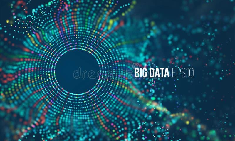 Абстрактная красочная решетка частицы с bokeh Пыль науки с заревом Футуристическое визуализирование bigdata иллюстрация вектора