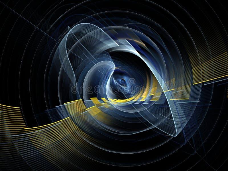 Абстрактная красочная технология или научная предпосылка, компьютерное изображение Фон фрактали с стилем техника кругом и лучами иллюстрация вектора
