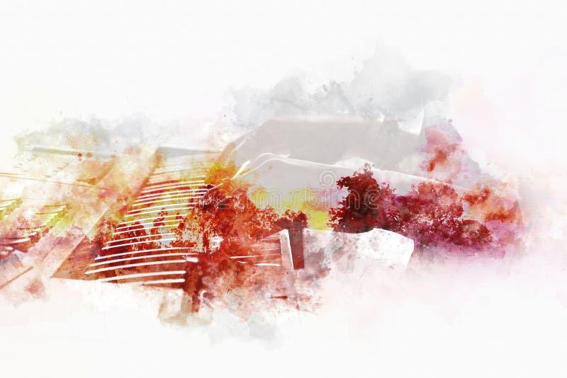 Абстрактная красочная форма на акустической гитаре на предпосылке иллюстрации акварели бесплатная иллюстрация