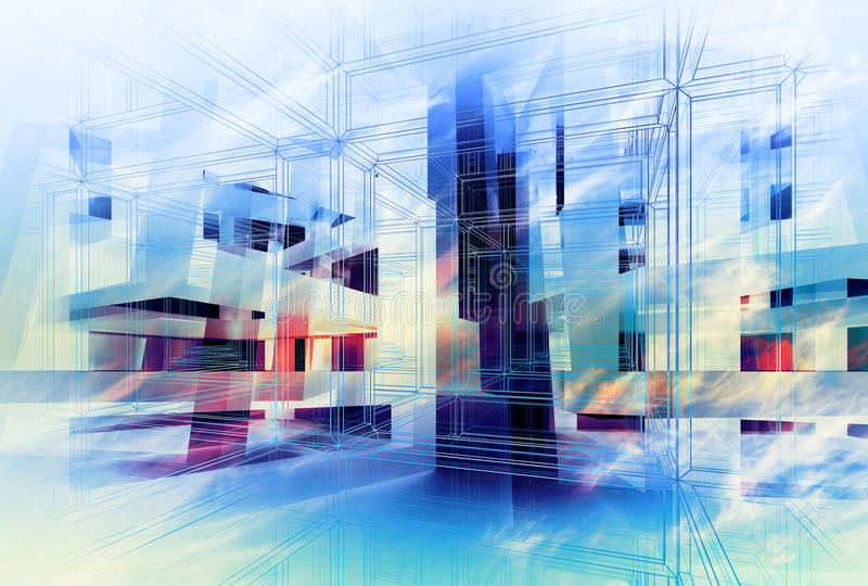 Абстрактная красочная цифровая предпосылка 3d принципиальная схема высокотехнологичная иллюстрация вектора