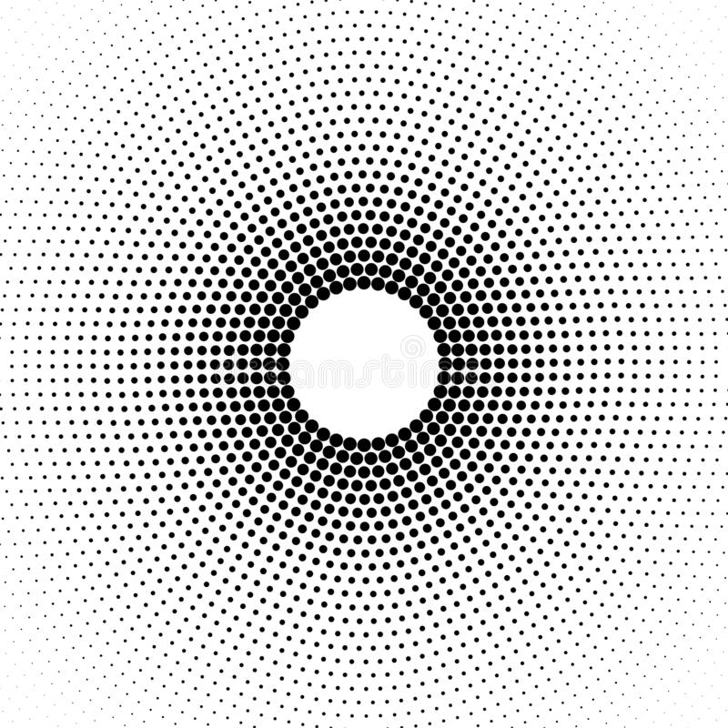 Абстрактная круговая черная картина точек полутонового изображения в белой предпосылке иллюстрация вектора