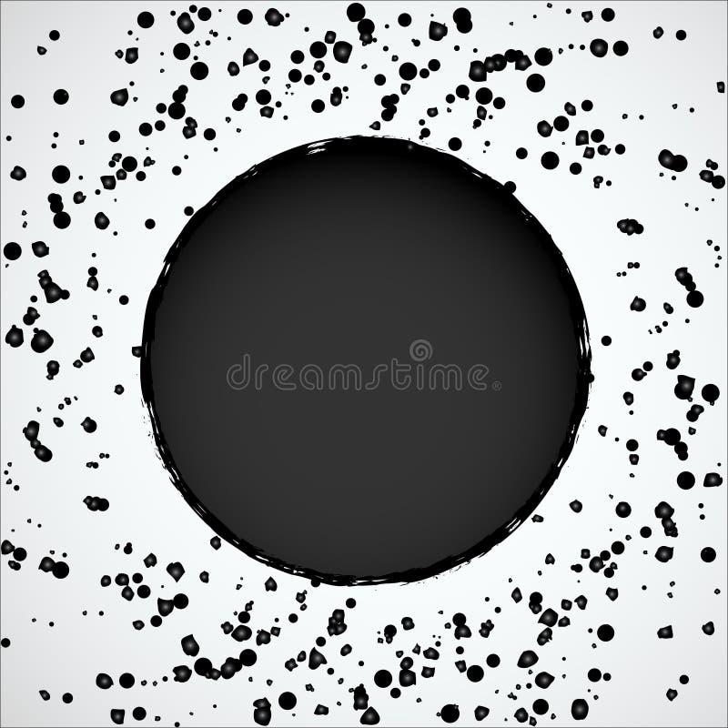 Абстрактная круглая рамка окруженная черными падениями краски бесплатная иллюстрация
