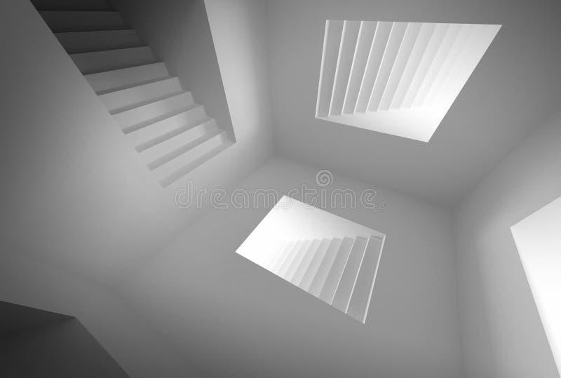 абстрактная лестница нутряного освещения зодчества иллюстрация штока
