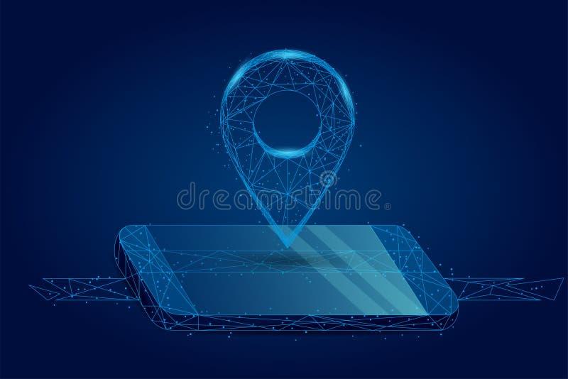 Абстрактная линия месива и штырь GPS пункта на мобильном экране Карты и обслуживания навигатора иллюстрация вектора