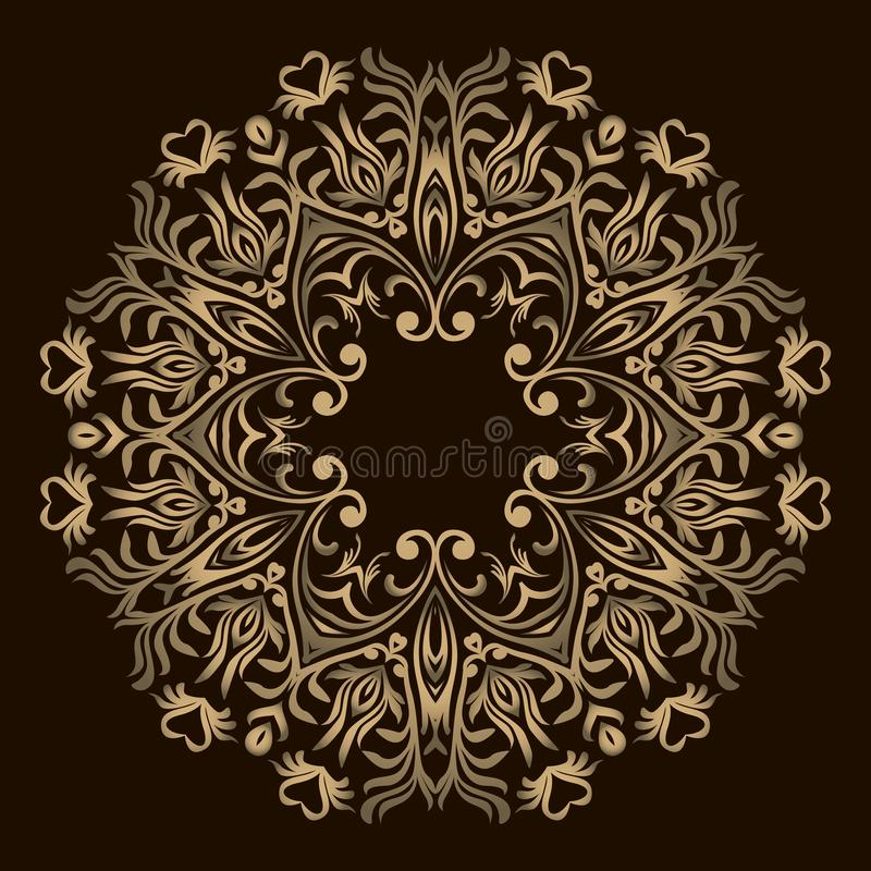 Абстрактная мандала дизайна цветка Декоративные круглые элементы Восточная картина, иллюстрация вектора Круглый элемент дизайна М иллюстрация штока