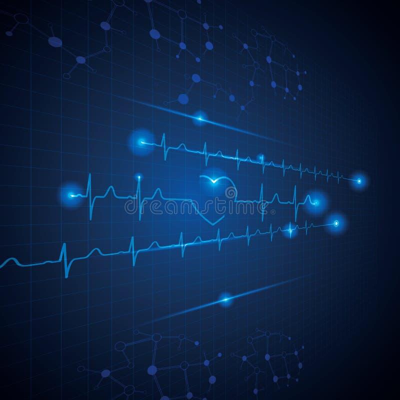 Абстрактная медицинская предпосылка ecg кардиологии иллюстрация штока