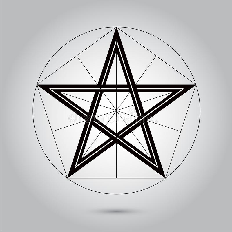 Абстрактная минимальная черно-белая звезда для иллюстрации фотографии запаса Eps 10 дизайна иллюстрация штока