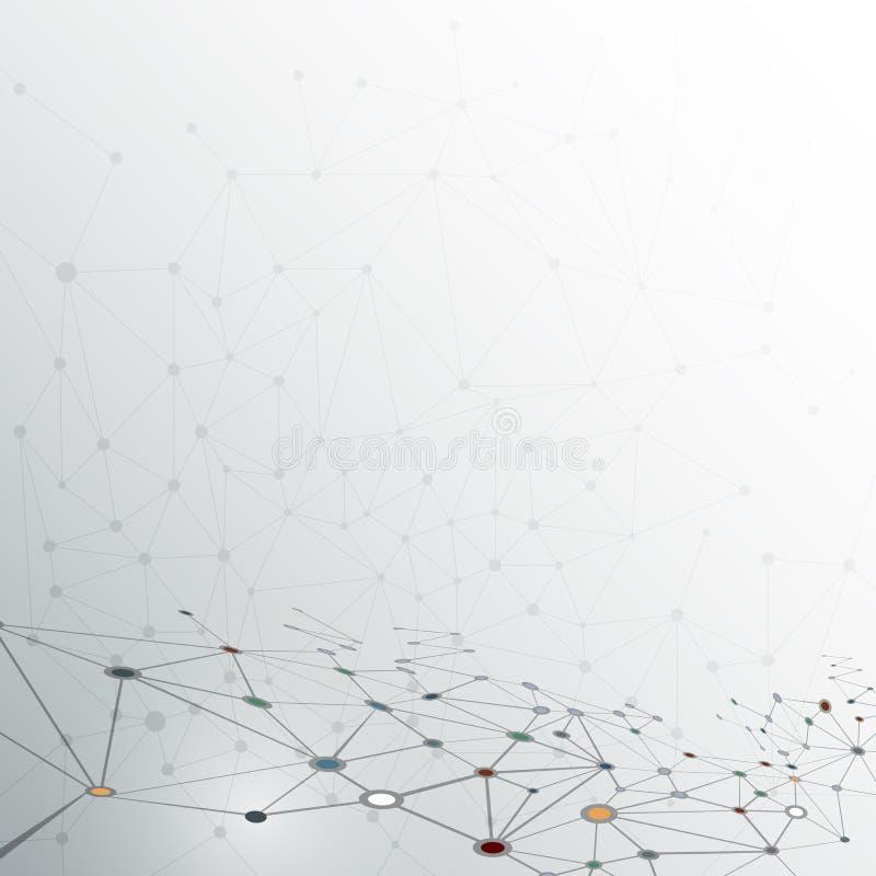 Абстрактная молекула на серой предпосылке цвета сеть для футуристической концепции технологии бесплатная иллюстрация