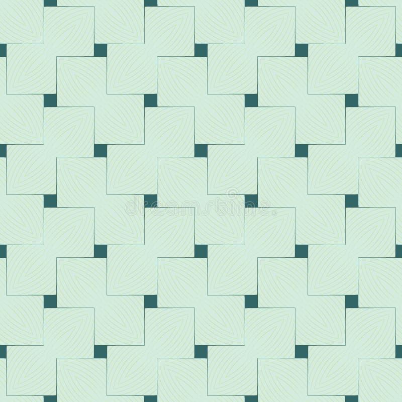 Абстрактная модная безшовная картина различных квадратных форм в зеленых тенях на салатовой предпосылке иллюстрация вектора