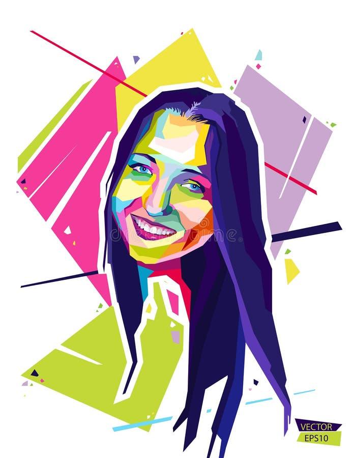 Абстрактная молодая женщина портрета Wpap стиля также вектор иллюстрации притяжки corel иллюстрация штока