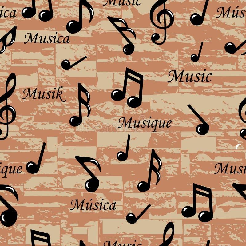 Абстрактная музыка замечает безшовную картину. Предпосылка вектора (обои). бесплатная иллюстрация