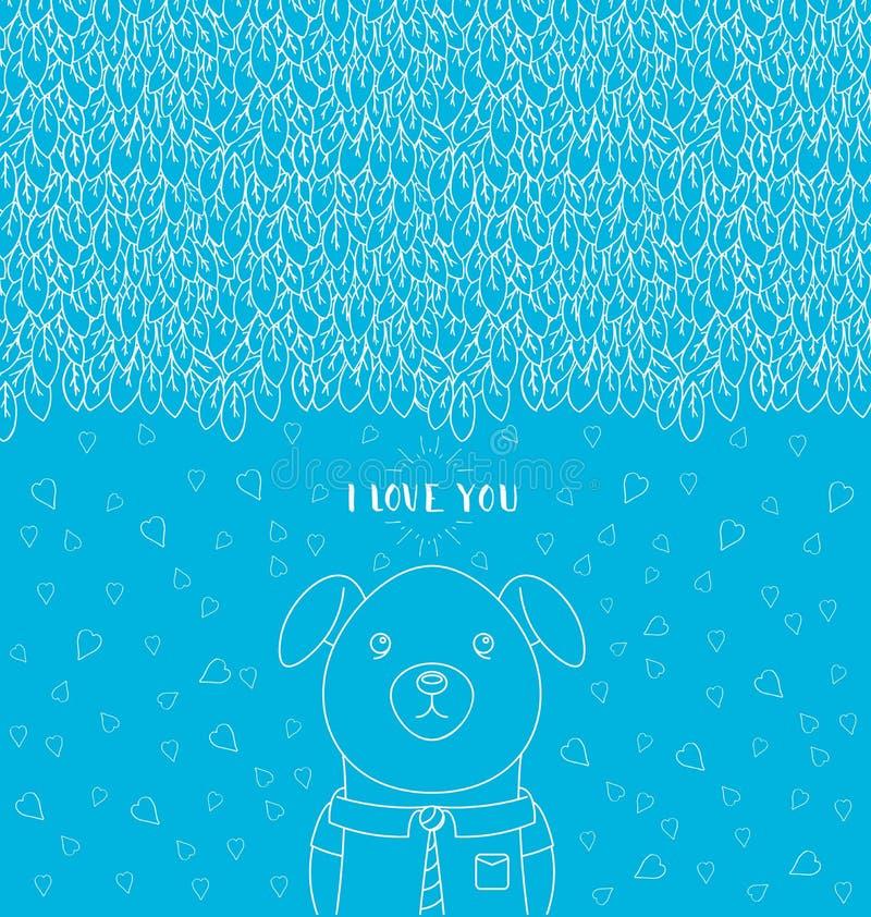 Абстрактная нарисованный вручную картина помечая буквами влюбленность i вы Смешная собака нося связь и рубашку иллюстрация вектора