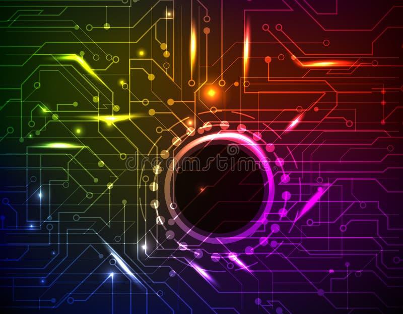 Абстрактная неоновая предпосылка с светящими вспышками на темной предпосылке иллюстрация вектора