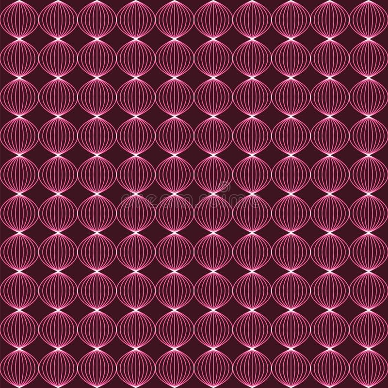 Абстрактная неоновая предпосылка с переплетенными шариками Безшовная беда вектора иллюстрация штока