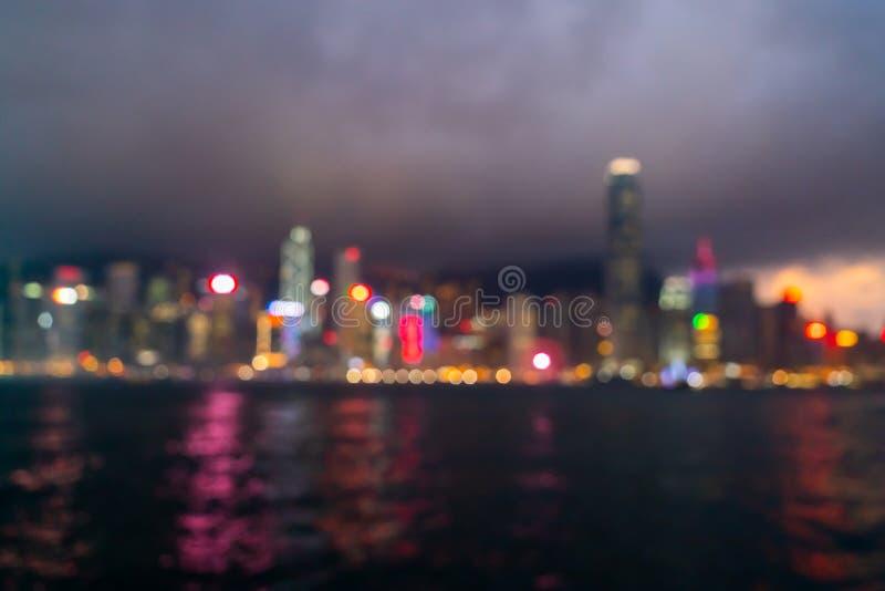 абстрактная нерезкость и defocused город Гонконга стоковые изображения